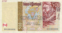 500 Escudos banknote.