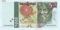 5000 Escudos banknote.