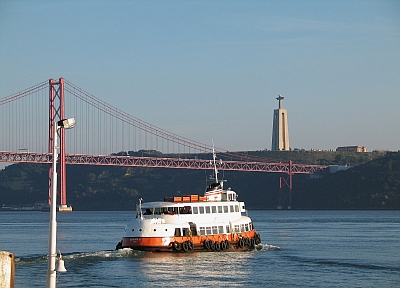 Lisbon boat crossing River Tagus.