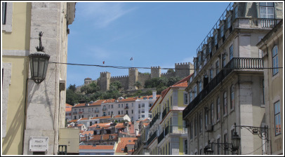 Lisbon Rossio - view to the Castle.