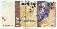 1000 Escudos banknote.