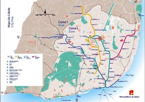 Lisbon Metro Map.